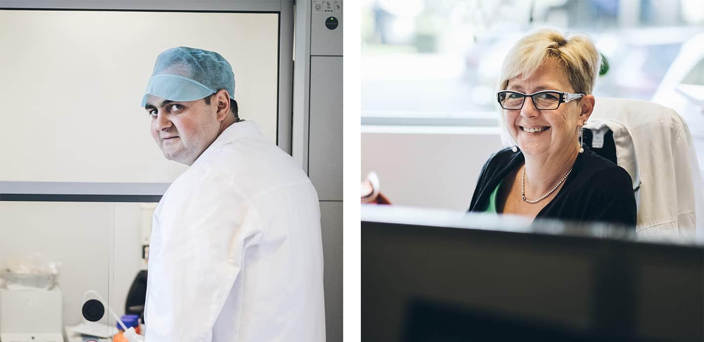 Joost Sprengers en Elsje Laeremans, twee van onze experten uit het laboratorium.